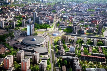 Katowice* - Region um das Stadtzentrum aus der Vogelperspektive