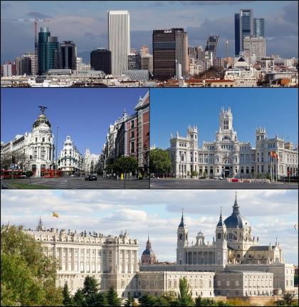 Von oben links: Das Geschäftszentrum am Paseo de la Castellana, Straßen Alcalá und Gran Vía, Palacio de Cibeles, Blick auf Palacio Real und Almudena-Kathedrale.*