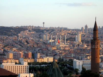 View of Ankara* from above the Archeological Museum, seeing Kocatepe Mosque and Atakule.